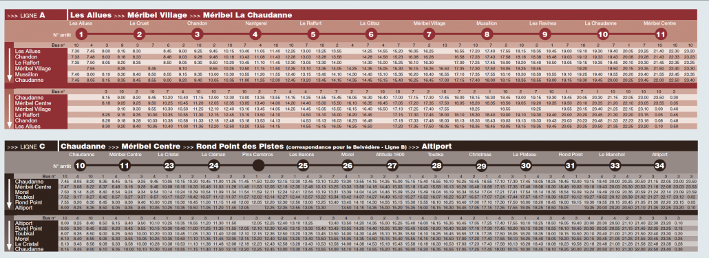 Meribel Bus Timetable 2014-15